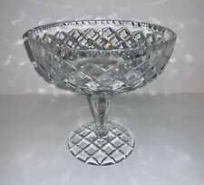 Vintage Baccarat Style Diamond Cut Crystal Footed Compote Bowl