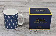(4) Ralph Lauren Polo Azul Marino Poni Logo Tazas de Café Set Nuevo
