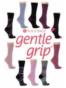 "3 Ladies Gentle Grip® ""CLEARANCE"" Cotton Rich Non Elastic Socks UK 4-7"