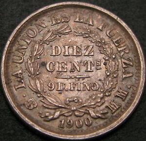 BOLIVIA 10 Centavos 1900 - Silver - VF - 2009 ¤