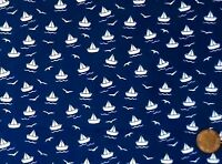 NAVY BLUE WITH A DESIGN OF WHITE PAPER BOATS - 100% COTTON FABRIC FQ'S