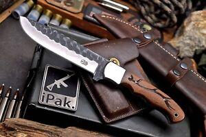 CFK IPAK Handmade DC53 Custom DEER ANTLER Engraved Rosewood Hunter Skinner Knife