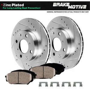 Front Drilled Slotted Brake Rotors & Ceramic Pads For 2015 2016 - 2019 Honda Fit