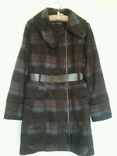 Ladies My Collection winter blue and brown checked coat size XL (approx size 14)
