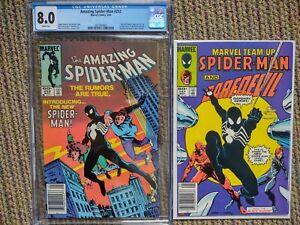 Spider-Man Lot #252 CGC 8.0 AND Marvel Team Up 141 - ungraded 1st Black costume