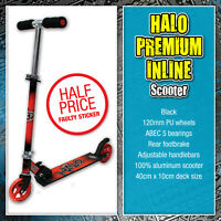 Halo Premium Inline Scooter Black Red Kids Child Adult Folding Adjustable Push