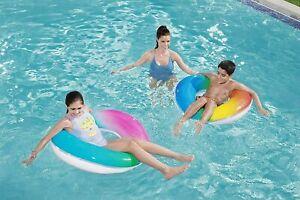 "Inflatable Rainbow Swim Ring Summer Beach Pool Float 91cm/36"" Bestway"