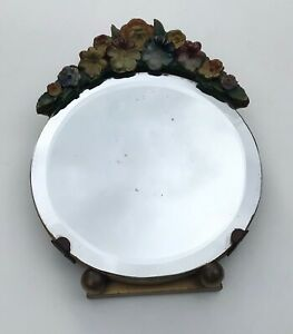 """Art Deco Barbola Floral Small 5"""" x 5"""" Circular Bevelled Mirror on Easel Stand"""