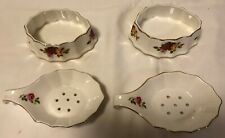 2 Cottage Rose tea strainers & drip trays 2 identical porcelain Brinn's tea sets
