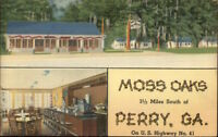 Perry GA Moss Oaks Linen Roadside Postcard