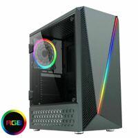 CIT C1055 RGB Midi ATX Gaming PC Case LED Strip 120mm Fan Acrylic Glass Panel