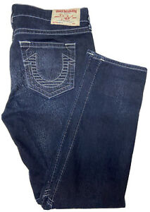 True Religion Men 38 Moto Skinny Run Stitch Denim Jeans Dark Wash EUC
