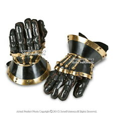 Black Functional Large 16G Steel Princely Hourglass Gauntlets Leather Glove SCA