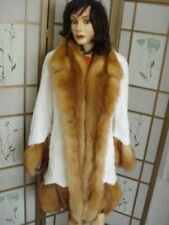 BRAND NEW WHITE SHEARED BEAVER & RED FOX FUR COAT WOMEN WOMAN