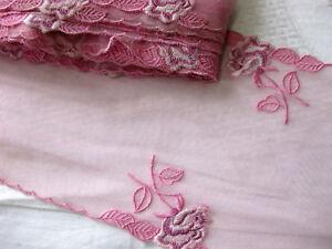 Feine Spitze mit Stickerei,Rosa,ca 18 cm breit  S4.5