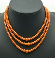 Antique Victorian Three Strand  Graduated Coral Bead Necklace Gold Clasp.34.5 gs