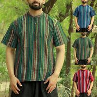 INCERUN Mens Striped Collarless Grandad Shirt Summer Mens Hippy Festival Top Tee