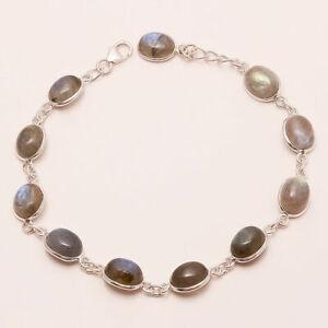 Natural Madagascar Labradorite Gemstone Sterling Silver Bezel Fine Bracelet Gift