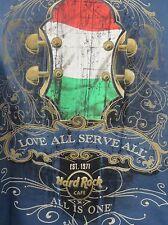 HARD ROCK CAFE BUDAPEST Guitar Love All Serve All Harbor Blue Headstock Flag MED