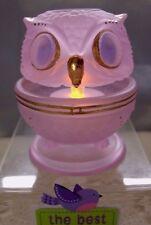 """FENTON GLASS""""MINT~VINTAGE~70s""""HAND PAINT""""LAVENDER""""SATIN""""OWL""""3pc""""FAIRY LIGHT/LAMP"""