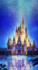 Disney Castle Blue Background 5D Diy Diamond Painting
