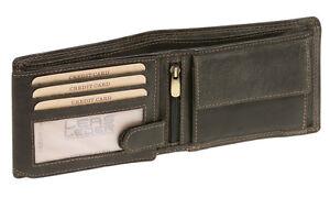 Scheintasche Querformat LEAS MCL Vintage-Stil Echt-Leder, Portemonnaie schwarz