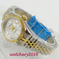 26mm PARNIS White Dial 21 jewels Miyota Automatic Mechancial Classic mens Watch