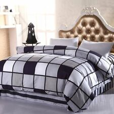 Cotton Checked Quilt Duvet Doona Cover Set Queen Size Pillow Cases Bed Covers