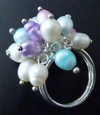 Sterling Fresh Water Pearl Cluster Ring, Pastel Multi Color Pearl Cluster Ring