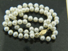 "6-7mm Cultured Freshwater Pearl Necklace 18"" long 14k yellow clasp and bead cups"