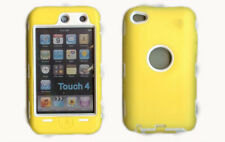 Built in Screen Protector Case / Cover iPOD TOUCH 4 YELLOW / WHITE Free Stylus