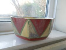 Clarice Cliff Large Early Geometric Octagonal Fruit Bowl