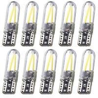 10x T10 194 168 W5W COB 6500K LED Silica Bright Glass License Light Bulbs 200LM