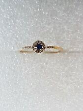 Bague Or jaune 18 k  1 saphir, 8 petits diamants-  gold 750. T 52  1 gr