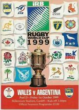 WALES v ARGENTINA RUGBY WORLD CUP 1999 PROGRAMME
