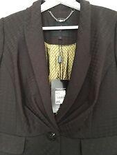 BNWT Ladies JASPER CONRAN DEBENHAMS brown pleated peplum blazer jacket SIZE 10