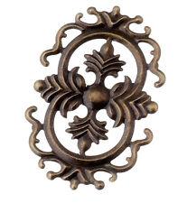4 x Möbelbeschlag 9,2 cm antik Möbel Zierbeschlag Zierteil Beschlag Metall Blech