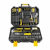 DEKOPRO 128 Pcs Hand Tool Set General Household Hand Tool Kit W Plastic Toolbox