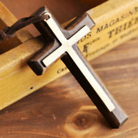 Wooden Cross Pendant Necklace Long for Woman Men Vintage Wood Christian Fashion