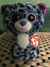 "Ty LIZZIE -Blue/Purple/Black Leopard 6"" Beanie Boo *Retired Exclusive* RARE/VHTF"
