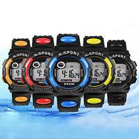 Unisex Sports Digital LED Night Light Quartz Alarm Date Rubber Wrist Watch Cool