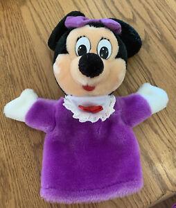 """Vintage Walt Disney Minnie Mouse Hand Puppet Plush Rare Purple Color 11"""""""