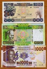 SET Guinea, 100;500;1000 francs, 2015 (2016), Pick New, UNC > Redesigned