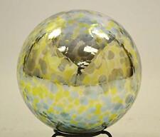 10 Inch Glass Garden Gazing Ball, Aqua Lime Spots Color.