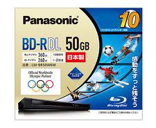 10 Panasonic BD-R DL 50GB 2X Speed Inkjet Printable Blu ray Discs Made in Japan