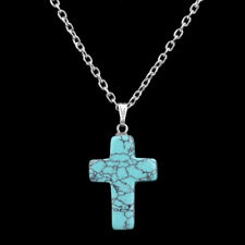 Cross Natural Stone Quartz Charms Pendant Necklace Women Men Jewelry Choker Gift