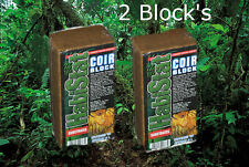 2x Habistat Coco Brick 650g expands 800% Coir Forest Bedding substrate NATURAL