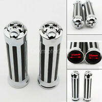 1'' Motorcycle Handle Bar Skull End Hand Grips For Yamaha Suzuki Honda Chrome