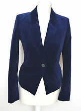 Esprit Damen Blazer Vokuhila-optik Business festlich Velours blau Stretch 36 s