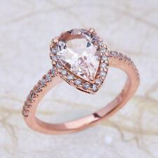 2.55ct 9x7mm Teardrop Morganite & Diamond Halo Engagement Ring 14K Rose Gold PD3